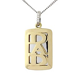 Precious Moments - Silver and 9ct gold plated 'dad' tag pendant