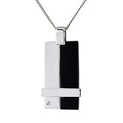 Precious Moments - Sterling silver gents onyx diamond set tag pendant
