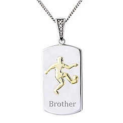 Precious Moments - Sterling silver football 'Brother' pendant