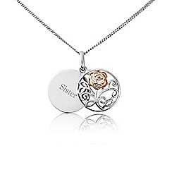 Precious Moments - Silver and rose plated sliding 'Sister' disc filigree pendant