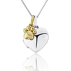 Precious Moments - Sterling Silver  Heart Locket With 9ct Gold Plated 'Paw 'Charm