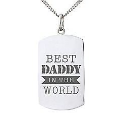 Precious Moments - Sterling Silver Gents 'Best Daddy In The World' Message Tag Pendant