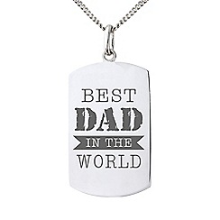 Precious Moments - Sterling Silver Gents 'Best Dad In The World' Message Tag Pendant
