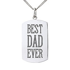 Precious Moments - Sterling Silver Gents 'Best Dad Ever' Message Tag Pendant