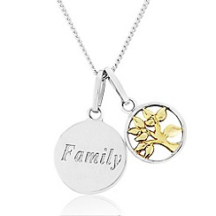 Precious Moments - Sterling Silver 9ct Gold Plated 'Family' Pendant