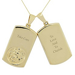 Precious Moments - 9ct gold christopher twin gents pendant 'to love and to cherish' ' take care'