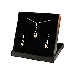 Love Story - 9ct Yellow Gold Pearl Dropper Earrings and Pendant Set