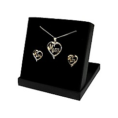 Love Story - Gold Plated Silver Cubic Zirconia 'Mum' Earrings and Pendant Set