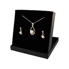 Love Story - 9ct Gold Pearl & Diamond Ladies Earrings and Pendant Set