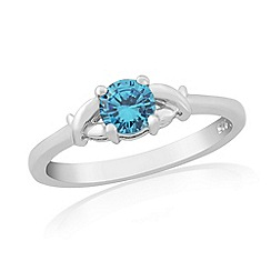 Precious Moments - Sterling silver blue cubic zirconia 'kiss' ring