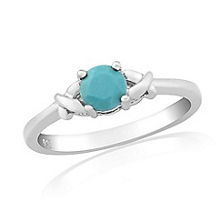 Precious Moments - Sterling silver created turquoise stone set 'kiss' ring