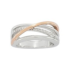 Precious Moments - Sterling Silver & 9ct Rose Gold Plated Diamond set Ladies Dress Ring