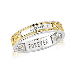 Love Story - Sterling Silver and 9ct Gold Plated Ladies Message 'FOREVER' and 'PARTNER' Ring