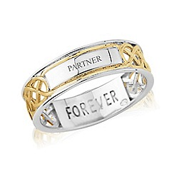 Love Story - Sterling Silver and 9ct Gold Plated Gents Message 'FOREVER' and 'PARTNER' Ring