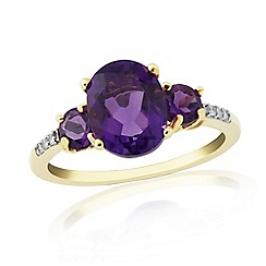 Love Story - 9ct Gold Plated On Silver Amethyst And Diamond Ring