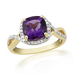 Love Story - 9ct Gold Plated On Sterling Silver Amethyst And Diamond Ring