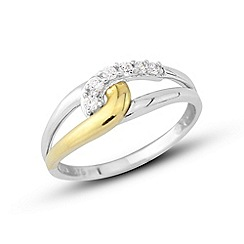 Love Story - Sterling silver & yellow gold plate cz ring