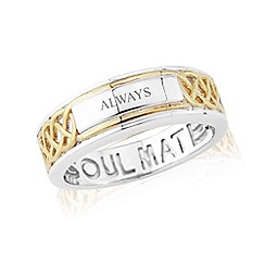 Love Story - Sterling silver and 9ct gold plated 'soulmate' ladies ring with 'always'