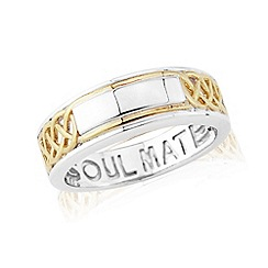 Love Story - Sterling silver and 9ct gold plated 'soulmate' gents ring