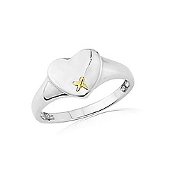 Precious Moments - Sterling Silver and 9ct Gold Plated Ladies Heart Signet Ring