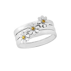 Love Story - Sterling Silver Gold Plated 'Daisy' Ring Trio