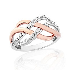 Love Story - Sterling Silver And 9ct Rose Gold Plated Diamond Ring