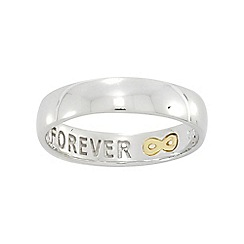 Precious Moments - Sterling Silver & 9ct Gold Ladies Commitment Ring with Message