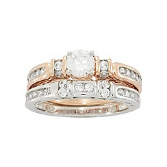 Precious Moments - Sterling Silver 9ct Rose Gold Plated Twin Stone set Ladies Rings
