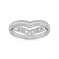 Precious Moments - Sterling silver 'i love you' stone set ladies dress ring