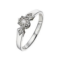 Starlight - 9 carat white gold 0.07ct illusion solitaire ring