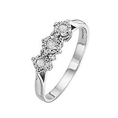 Starlight - 9 carat white gold 0.10ct diamond illusion set trilogy ring