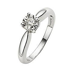 Starlight - 9 carat white gold 0.10ct diamond illusion set solitaire ring