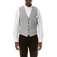 Burton - Grey linen blend check waistcoat
