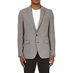 Burton - Grey dogtooth slim fit stretch blazer