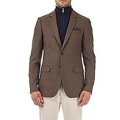 Burton - Brown slim fit stretch dogtooth blazer