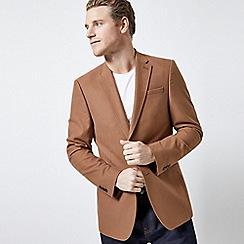 Burton - Tan Slim Fit Wool Look Stretch Blazer