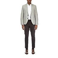 Burton - Grey linen blend checked blazer