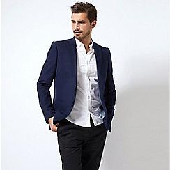 Burton - Navy slim fit faux wool stretch blazer