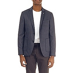 Burton - Navy stretch jersey checked blazer