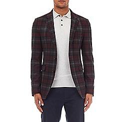 Burton - Burgundy skinny fit stretch tartan check blazer