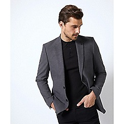 Burton - Charcoal slim fit faux wool stretch blazer