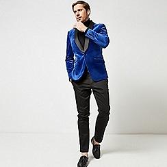 Burton - Cobalt slim fit velvet blazer