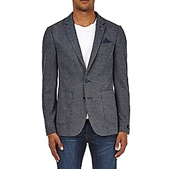 Burton - Navy slim fit textured jersey blazer