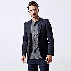 Burton - Navy Textured Slim Fit Stretch Blazer