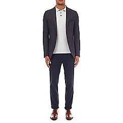 Burton - Stretch navy slim fit check blazer