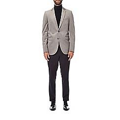 Burton - Grey notch lapel velvet blazer
