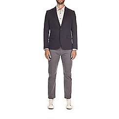Burton - Black pique slim fit jersey blazer