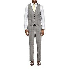 Burton - Grey windowpane checked slim fit waistcoat
