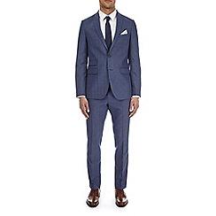Burton - Mid blue check slim fit suit jacket
