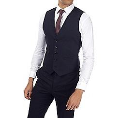 Burton - Navy muscle fit textured waistcoat